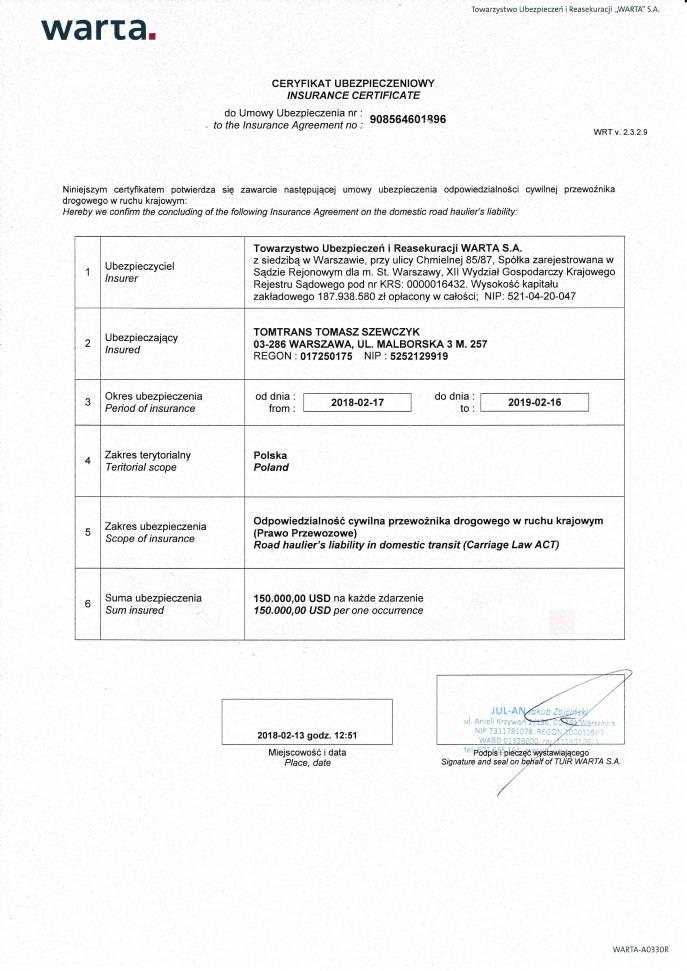 Ubezpieczenie ododpowiedzialności zatransport, przewóz iusługi przeprowadzkowe dla firmy TomTrans, Warszawa